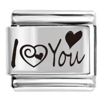 Silver Tone I Love You Photo Laser Bracelet Link Friendship Italian Charms
