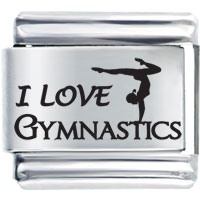 I Love Gymnastics Laser Stainless Steel Italian Charms Laser Italian Charm