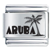 Aruba Black Text Beach Palm Christmas Tree Laser Hobbies Professions Italian Charm