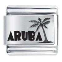 Aruba Black Text Beach Palm Christmas Tree Laser Hobbies Professions Italian Charm