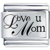 Family Love U Mom Laser 9 Mm Italian Charm For Bracelets Laser Italian Charm