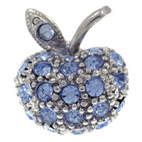 Silver Tone Apple With Light Sapphire Rhinestone Crystal Brooches And Pins
