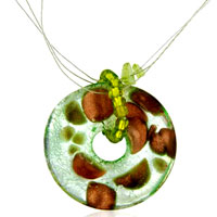 Pale Green Round Murano Glass Necklaces Pendant