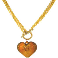 Golden Heart Black Fashion Jewelry Murano Glass Pendant Necklace