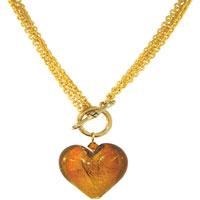 Golden Heart Black Fashion Jewelry Murano Glass Pendant Necklace