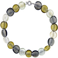 Gold And Grey Bead Murano Glass Pendant Necklace