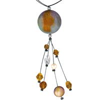 Tahitian Round Pearl Acrylic Murano Glass Necklaces Pendant