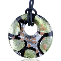 Multi Strand Green And Black Murano Glass Pendant Necklace