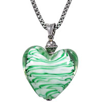 White And Green Striped Heart Murano Glass Pendant Necklace