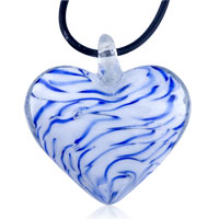 Royal Blue Stripes Heart Shape Murano Glass Pendant Necklace