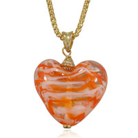 Orange Striped Heart Murano Glass Lampwork Pendant Necklace