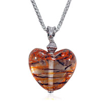 Black And Orange Striped Heart Shaped Pendant Necklace Murano Glass Beads Charms Bracelets Fit All Brands