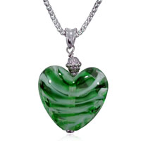 Green White Striped Heart Murano Glass Fashion Jewelry Seasonal Party Styles Pendant Necklace