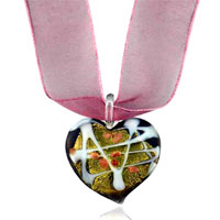 Purple With Gold Foil Heart Murano Glass Pendant