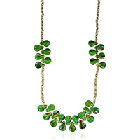Green Lampwork Teardrop Murano Glass Summer Necklace Pendant Earrings