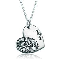 Silver Dangle Fingerprint On Heart Name Custom Made Pendant Necklace Sterling Silver Pendant