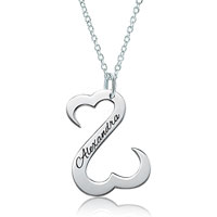 Dangle Open Hearts Engraving Name Custom Made Pendant Necklace Sterling Silver Pendant