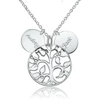 925 Sterling Silver Family Tree Engraved Couples Name Custom Made Any Name Necklace Pendant Sterling Silver Pendant