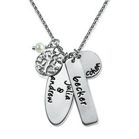925 Silver Pearl Family Tree Engraved Name Custom Necklace Pendant Sterling Silver Pendant