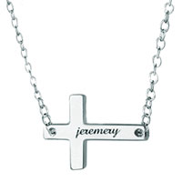 Sideways Cross Necklace 925 Sterling Silver Engraved Name Pendant Sterling Silver Pendant