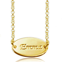 Name Necklace 18 K Gold Sterling Silver Oval Nameplate Custom Made