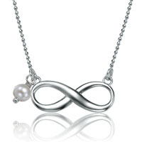 925 Sterling Silver Pearl Infinity Necklaces Pendant
