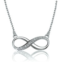 925 Sterling Silver Crystal Infinity Necklaces Pendant