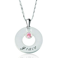 Circle Love 925 Sterling Silver Personalized Name Custom Made Name Sterling Silver Pendant