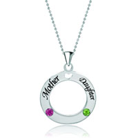 New Circle Love Necklace Mother Daughter Crystal Custom Made Word Sterling Silver Pendant