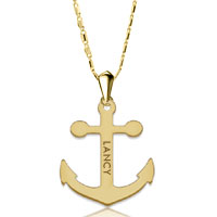 New 925 Sterling Silver Engraved Custom Made Anchor Name Necklace