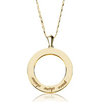 18 K Gold 925 Sterling Silver Custom Made Name Circle Love Necklace