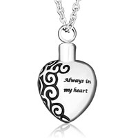 Always In My Heart Cremation Jewelry Pendant Keepsake Memorial Urn Necklace