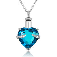 Blue Heart Pendant Necklacekeepsake Jewelry Ash Holder Funnel