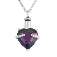 Purple Heart Pendant Necklacekeepsake Jewelry Ash Holder Funnel