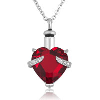 Red Heart Pendant Necklacekeepsake Jewelry Ash Holder Funnel