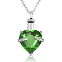 Grass Green Heart Pendant Necklacekeepsake Jewelry Ash Holder Funnel