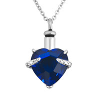 Royalblue Heart Pendant Necklacekeepsake Jewelry Ash Holder Funnel