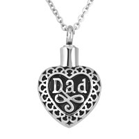 Dad Stainless Steel Jewelry Ash Holder Funnel Pendant Necklace