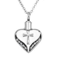 Heart Love Cross Cremation Jewelry Memorial Ash Keepsake Funnel Pendant Necklace