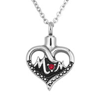 Mom Heart Red Birthstone Memorial Ash Keepsake Funnel Pendant Necklace