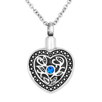 Heart Black Flower Stainless Steel Memorial Ash Keepsake Funnel Pendant Necklace