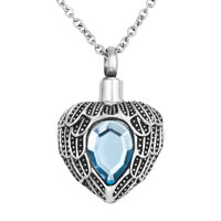 Heart With Angel Wings Charm Urn Pendant Necklace Stainless Steel Waterproof Cremation Jewelry