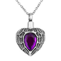 Purple Heart Angel Wings Charm Urn Pendant Necklace Stainless Steel Waterproof Cremation Jewelry