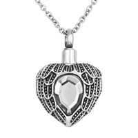 White Heart Angel Wings Charm Urn Pendant Necklace Stainless Steel Waterproof Cremation Jewelry