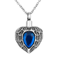 Mazarine Heart Angel Wings Charm Urn Pendant Necklace Stainless Steel Waterproof Cremation Jewelry
