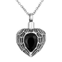 Black Heart Angel Wings Charm Urn Pendant Necklace Stainless Steel Waterproof Cremation Jewelry