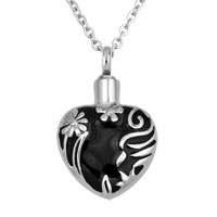 Black Heart Love Flower Memorial Ash Keepsake Funnel Pendant Necklace