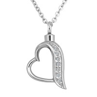 Heart Crystal Cremation Jewelry Ash Holder Funnel Pendant Necklace