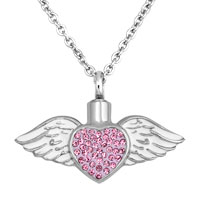 Heart Angel Wing Pink Birthstone Jewelry Ash Holder Funnel Pendant Necklace