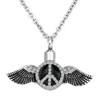 Angel Wing Birthstone Cremation Jewelry Ash Holder Funnel Pendant Necklace